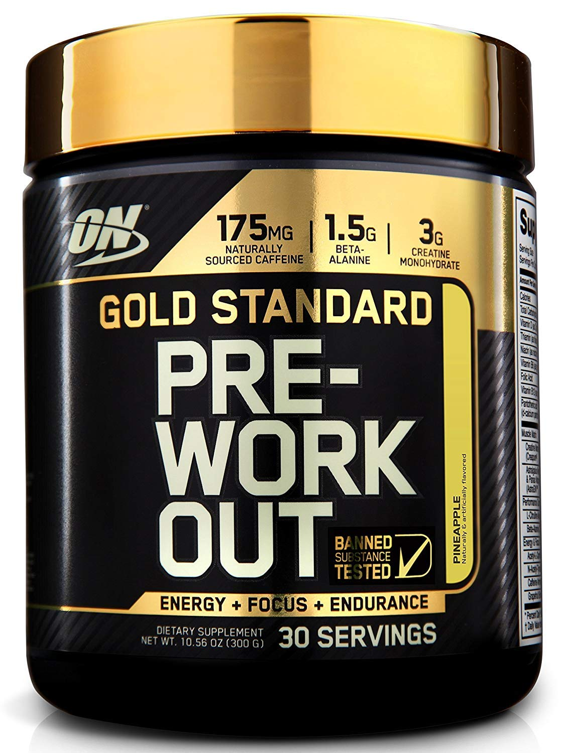 OPTIMUM NUTRITION GOLD STANDARD Pre-Workout with Creatine, Beta-Alanine, and Caffeine for Energy, Flavor: Pineapple, 30 Servings