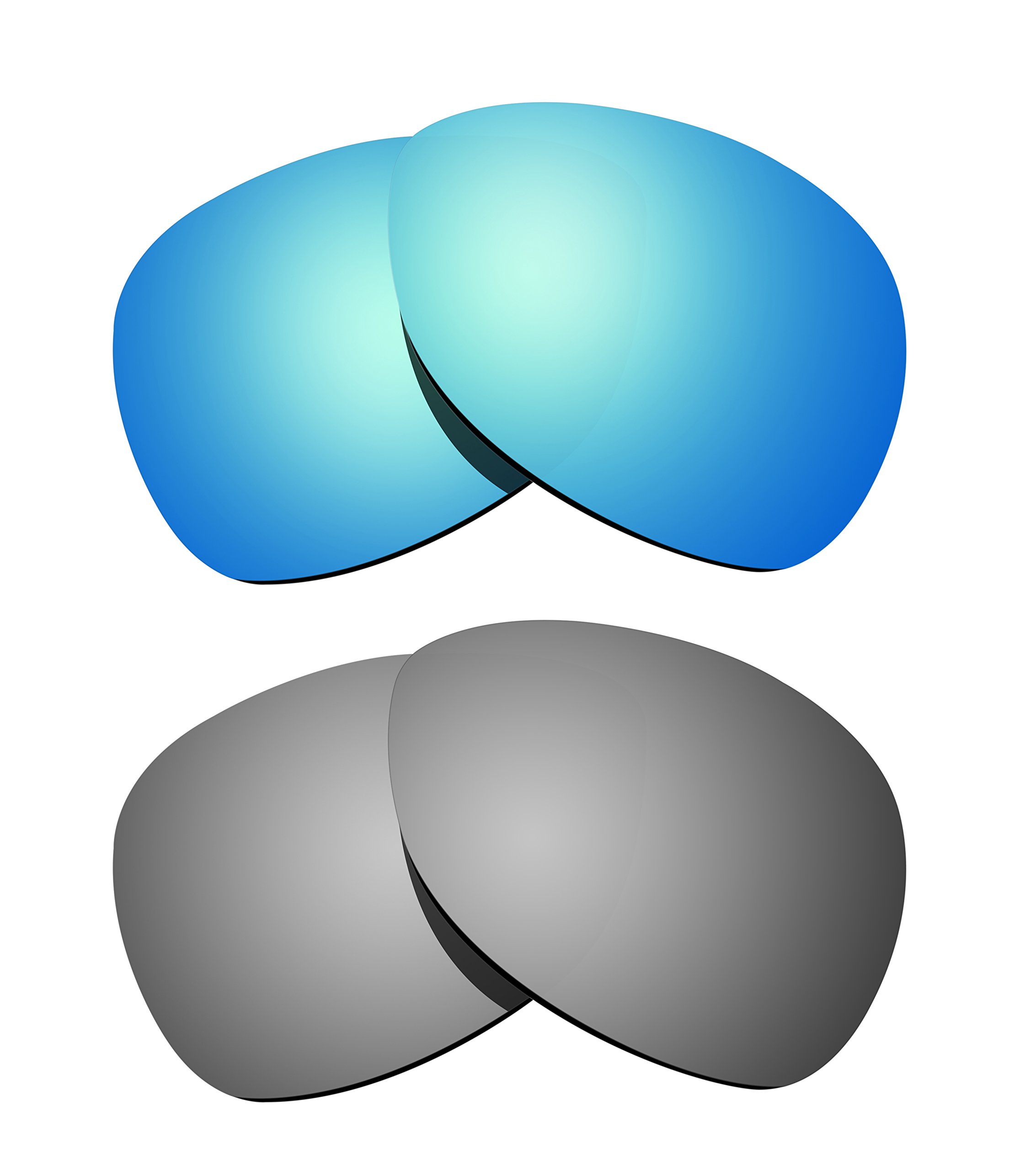 Littlebird4 2 Pairs 1.5mm Polarized Replacement Lenses for Oakley Crosshair Sunglasses - Multiple Options (Silver+Ice Blue) by Littlebird4