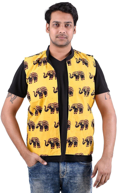 Lakkar Haveli Indian 100/% Cotton Yellow Color Jacket Men Outwear Ethnic Coat Oversize Elephant Print Plus Size