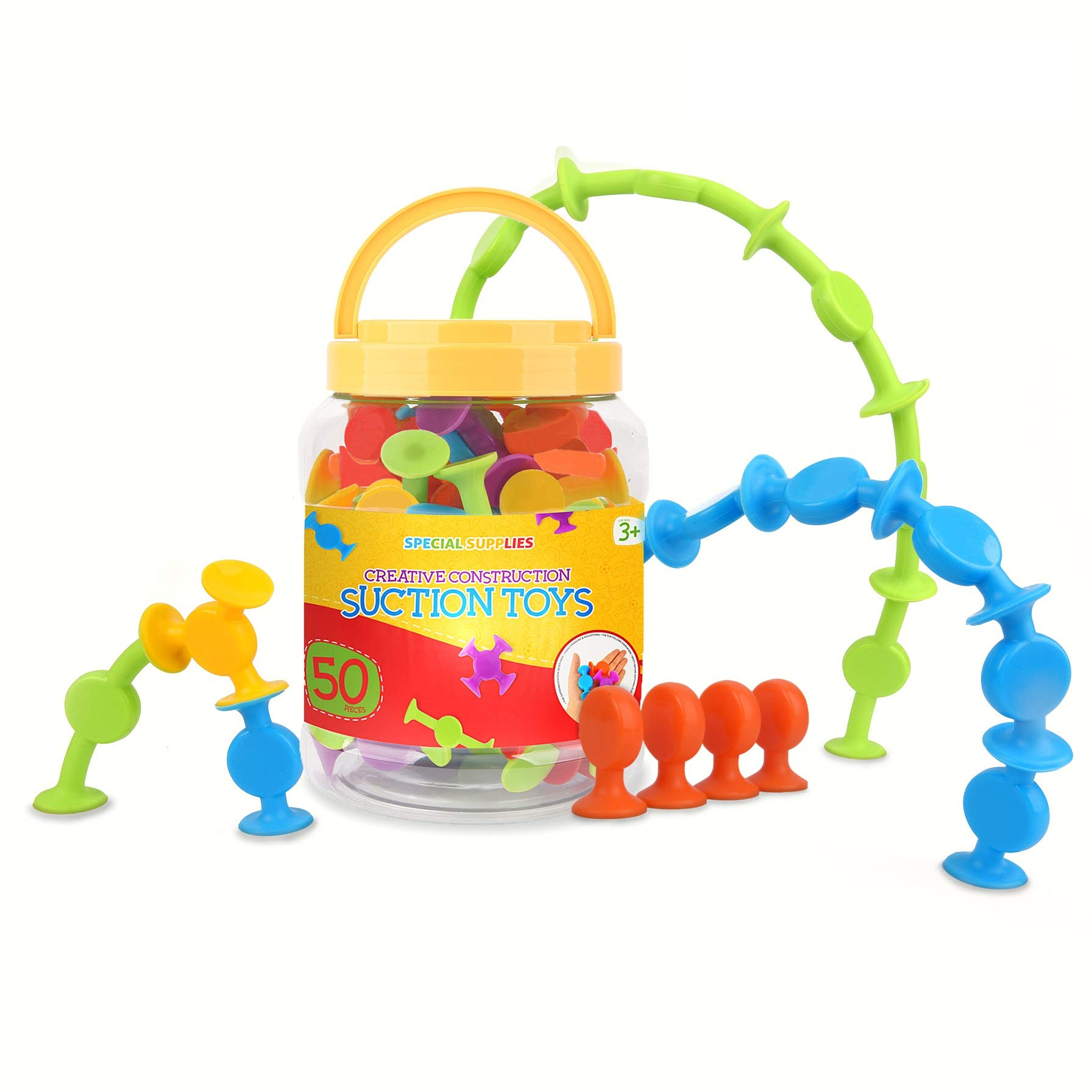 Suction Construction Toys Set for Children | 50-Pcs| Motor Skills, Hand-Eye Coordination, Sensory, Creativity & Imagination Boosting Educational Toys| Vibrant Colors| For Kids, Toddlers, Boys