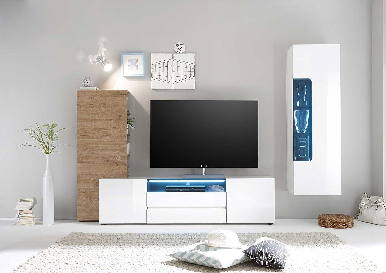 Anbauwand, Wohnzimmerschrank, Wohnwand, Schrankwand, Fernsehwand