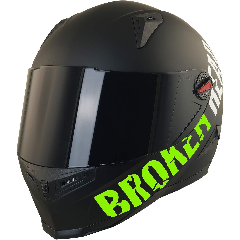 Broken Head BeProud Matt-Schwarz /& Gr/ün 55-56 cm Motorradhelm Mit Schwarzem Zusatz-Visier Gr/ö/ße S