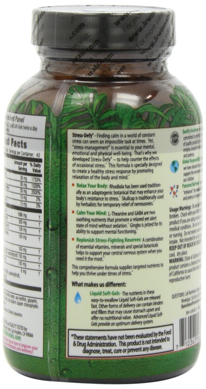 Irwin Naturals Stress-Defy, Balanced Relaxed Calm, Stressful Day Neutralizer, 84 Liquid Softgels by Irwin Naturals (Image #6)