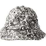 Accessoryo - blanc et noir imprimé cachemire PVC seau en cuir chapeau