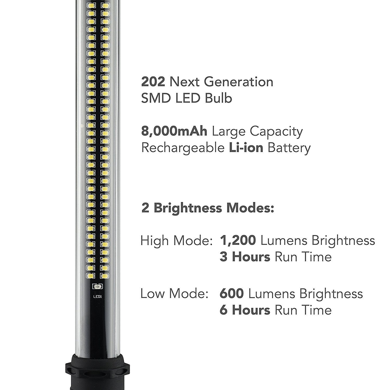 Neiko 40447A Rechargeable Underhood Work Light (202 SMD LED Bulbs, 1,200 Lumens Max, 8,000 mAh Li-ion Battery, 2 Brightness Modes) by Neiko (Image #1)