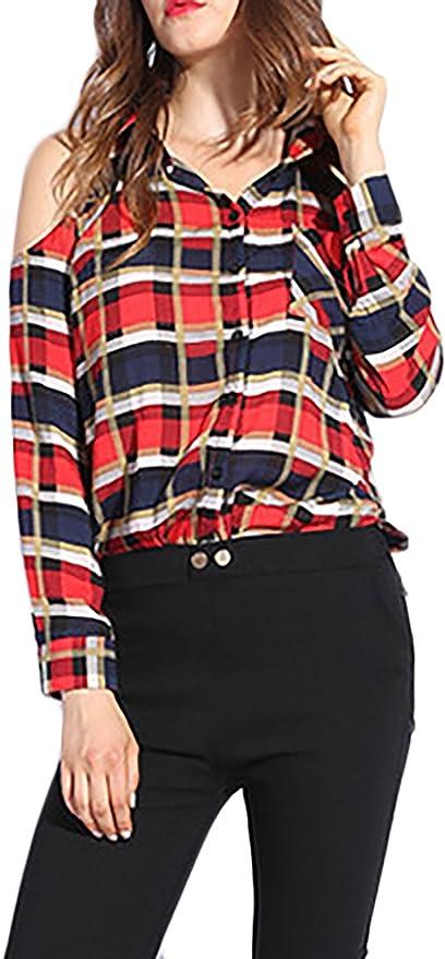 HaiDean Camisas Cuadros Elegantes Camisas Tops Anchos Blusa Moda Joven Niña Modernas Casual Primavera Otoño Camisa De Manga Larga Casuales Sin Tirantes De Solapa Cuadros Shirts: Amazon.es: Ropa y accesorios