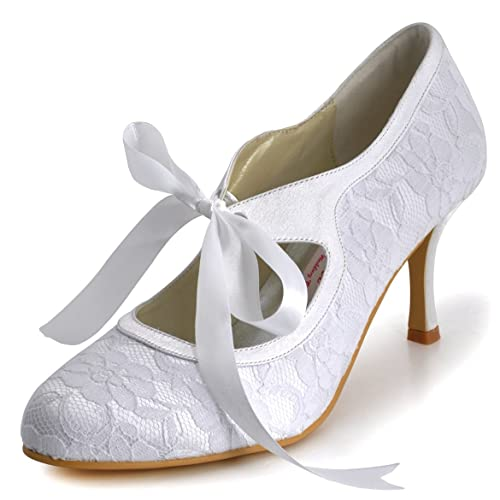 1020134c3d72 Elegantpark A3039-3 Women Mary Jane Closed Toe Stiletto Heels Prom Lace  Ribbon Tie Wedding