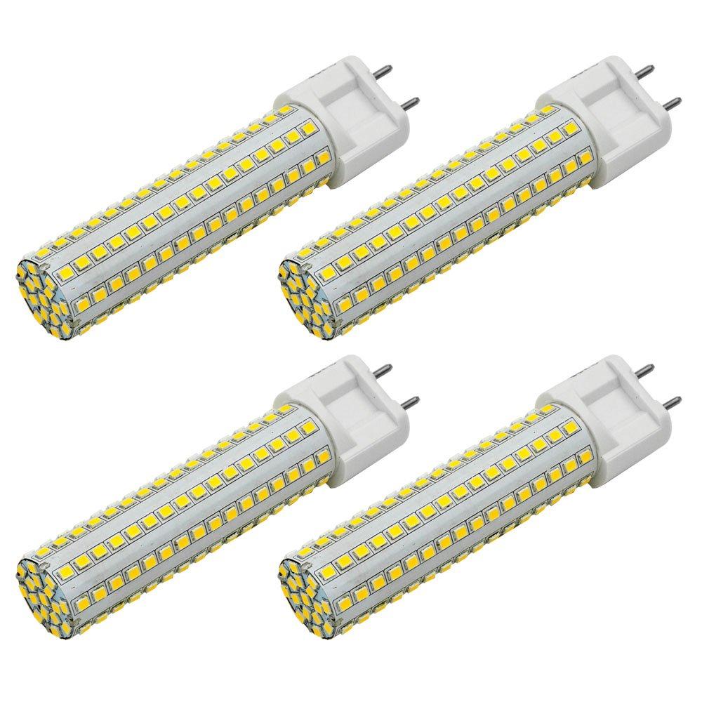 MENGS® Pack de 4 Lámpara G12 LED 15W AC 85-265V blanco cálido 3000K 144X2835 SMD con revestimiento de cerámica y aluminio: Amazon.es: Iluminación