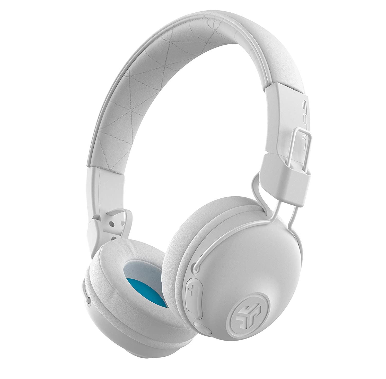 JLab Audio Studio Bluetooth Wireless On-Ear Headphones | 30+ Hour Bluetooth 5 Playtime | EQ3 Sound | Ultra-Plush Faux Leather & Cloud Foam Cushions | Track and Volume Controls | White