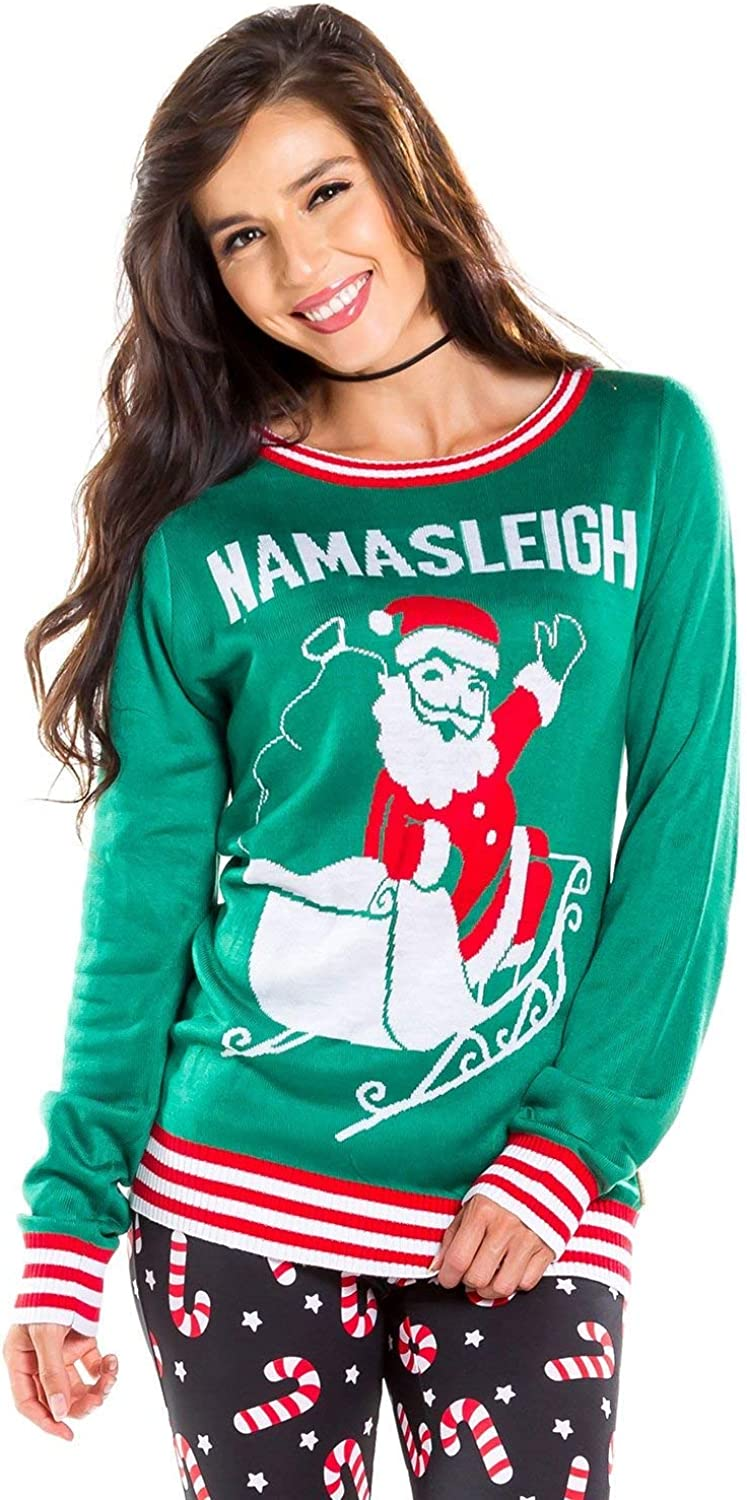 Tipsy Elves Women S Ugly Christmas Sweater Namasleigh Funny Christmas Sweater For Yoga Lovers At Amazon Women S Clothing Store