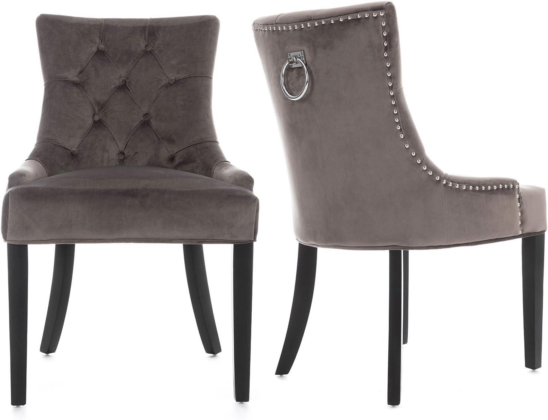 Lifestyle Furniture Scoop Button Back Dining Chairs Grey Velvet Black Legs Chrome Knocker Amazon Co Uk Kitchen Home