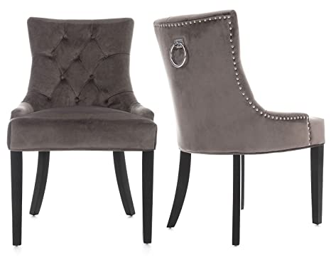 Lifestyle Furniture Scoop Button Back Dining Chairs Grey Velvet