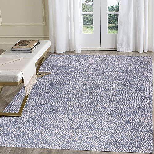 HEBE Large Cotton Area Rug 4' x 6' Machine Washable Printed Hand Woven Cotton Rug