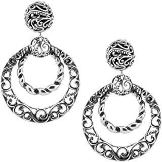product image for Carolyn Pollack Sterling Silver Double Circle Filigree & Rope Earrings
