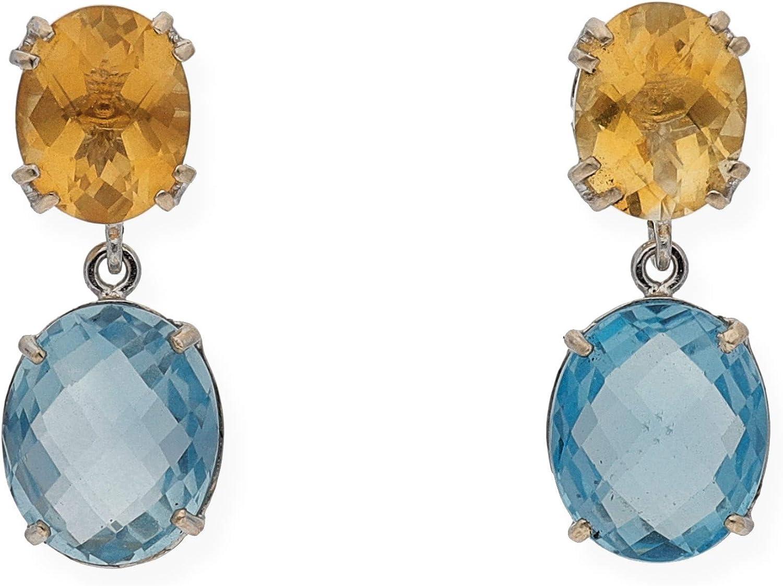 Zendel Joyas - Pendientes de oro blanco con topacios azules y cuarzos citrinos - M633B-CCTA