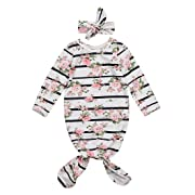 GSHOOTS Baby Boy Girls ' Long Sleeve Striped Floral Nightgown Sleeping Bag + Headband (70/6-12 Months, Rose Striped)