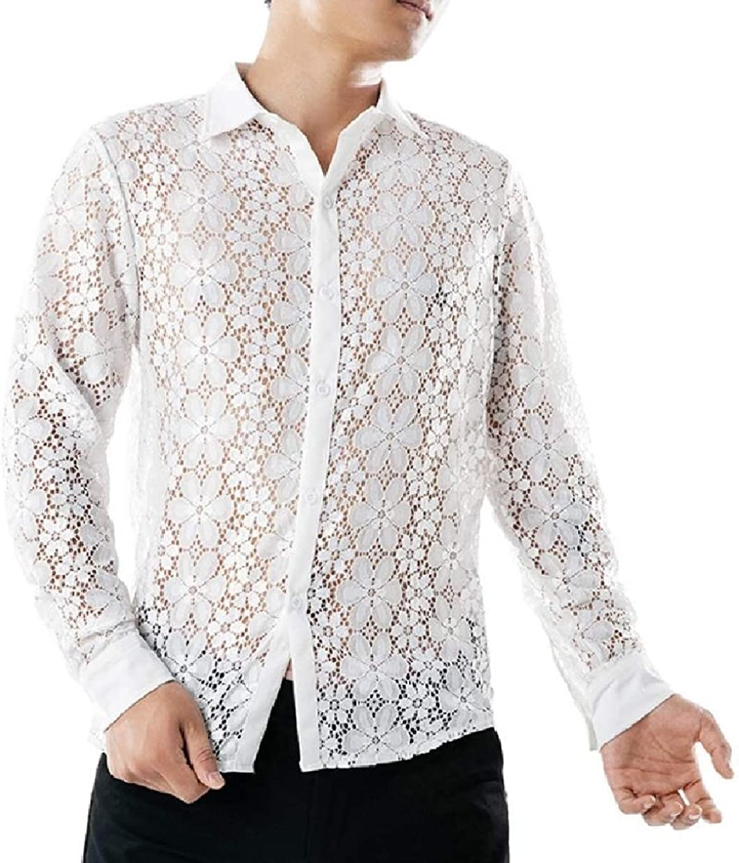 Winwinus Men Dance Prom Pure Colour Nightclub Lace Spread Collar T-Shirts