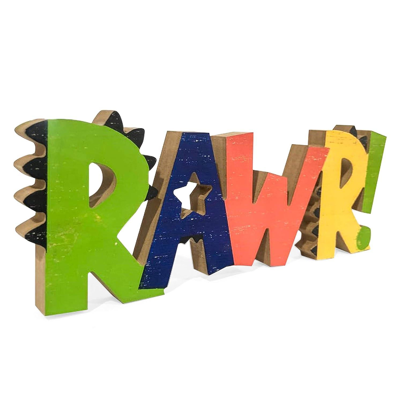 HnJOY Rawr Dinosaur Room Wood Decor for Boys - Kids Decorations for Bedroom - Boys Nursery Room Wooden Wall Decor, Birthday Decoration Dinosaur Theme - Freestanding Multicolor Tabletop 13.7