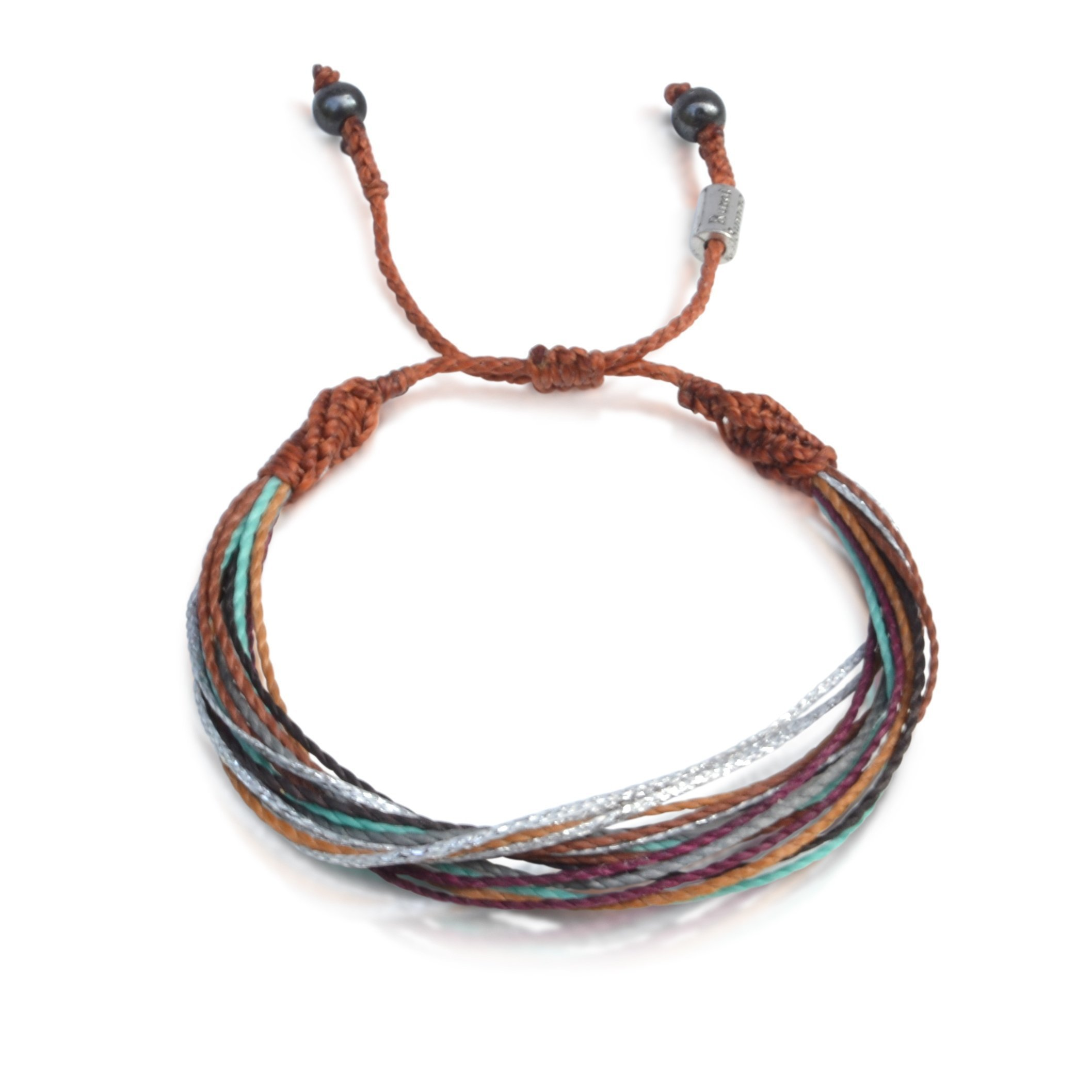String Surf Beach Bracelet for Men and Women with Hematite Stones in Brown, Rust, Eggplant, Aqua, Grey and Metallic Silver: Handmade Rope Friendship Bracelet by Rumi Sumaq
