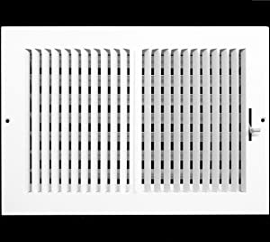 "12"" X 10"" 2-Way-Vertical AIR Supply Grille - Vent Cover & Diffuser - Flat Stamped Face - White [Outer Dimensions: 14.75""w X 12.75""h]"