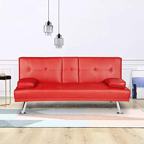 MOOSENG Modern Futon Faux Leather Convertible Armrest Recliner Couch Home Furniture 2 Cup Holders Bed Sofas, Red