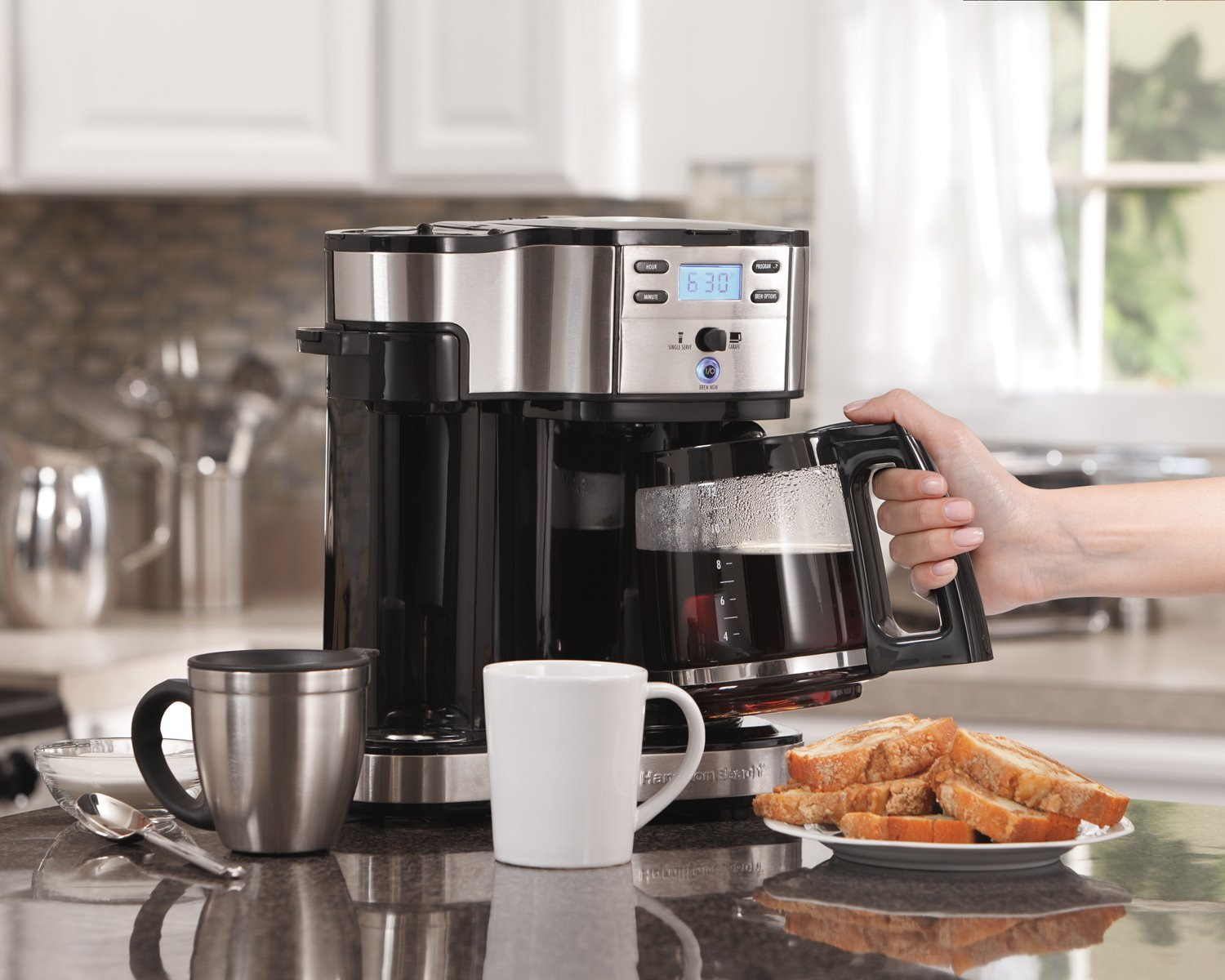 Hamilton Beach (49980A) Single Serve Coffee Maker and Coffee Pot Maker, Programmable, Black/Stainless Steel (Renewed) by Hamilton Beach (Image #3)
