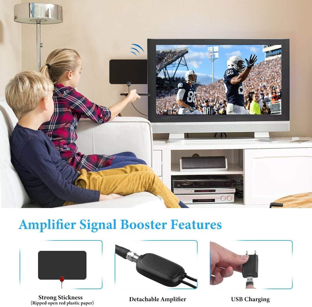 Cinati Antena de TV, Antena HDTV Digital de Interior de 130 Millas, Soporte 4K 1080P HD VHF UHF y Antena de TV de Mayor Alcance con Amplificador de Señal Amplificador, Cable Coaxial