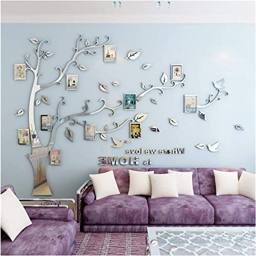 LUHSICE Decal Family Tree Stickers for Home Walls Silver Leaves with Bird 108.66 x78.74