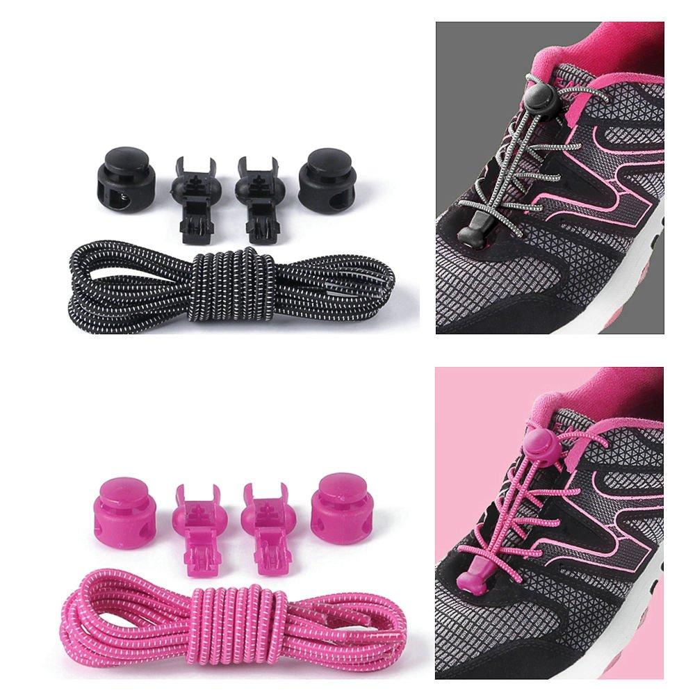 2X Elastic No-Tie Locking Shoelaces Shoe Laces With 2 Buckles Fr Sport Shoes