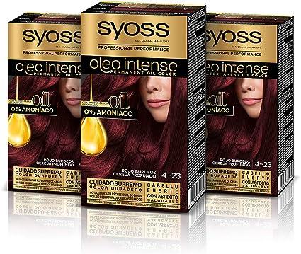 Syoss Oleo Intense - Tono 4-23 Rojo Burdeos (Pack de 3) – Coloración permanente sin amoníaco – Resultados de peluquería – Cobertura profesional de ...