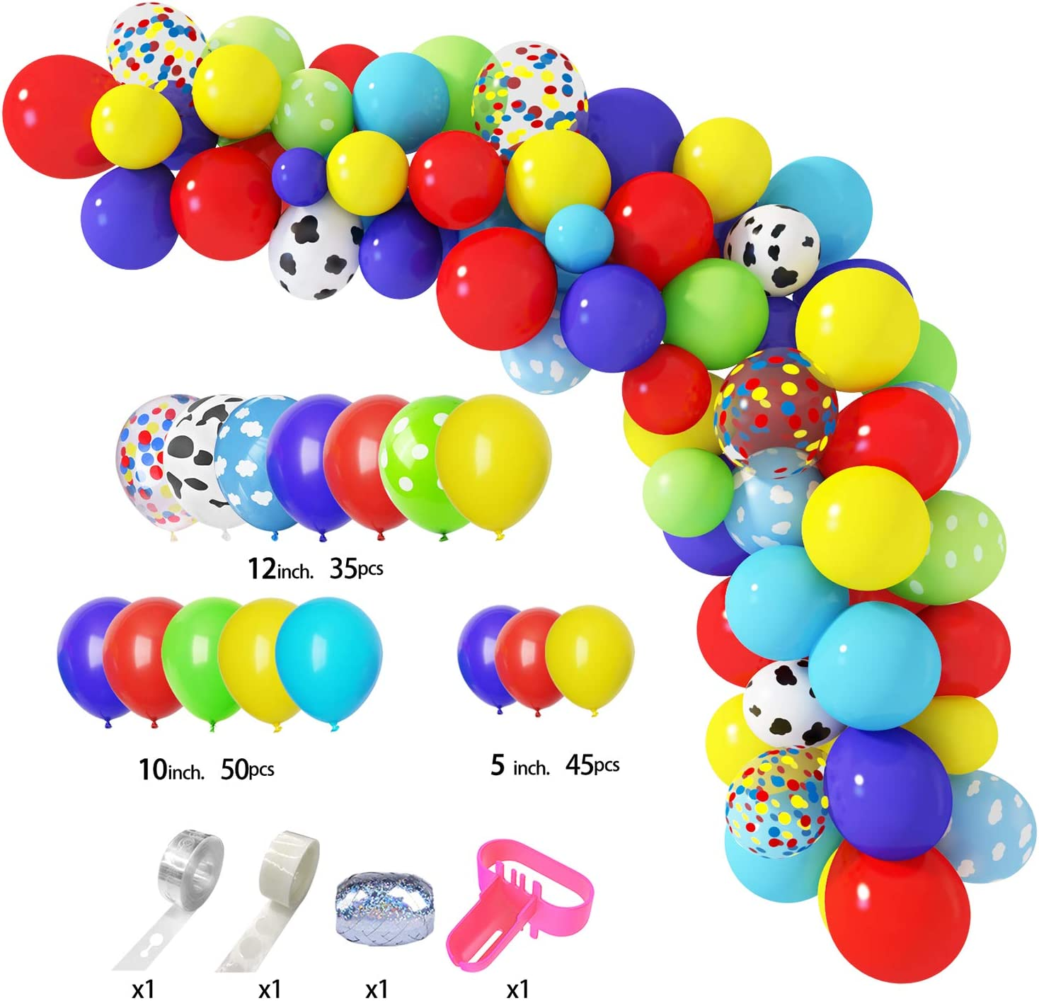 134 Pcs Toy Inspired Story Balloons Arch Garland Kit 12105 Cloud Cow Pattern Yellow Red Blue Green Confetti Latex Balloons for Kids Toy Story Theme Birthday Party Supplies Decorations with 4 Pcs Balloon Tools