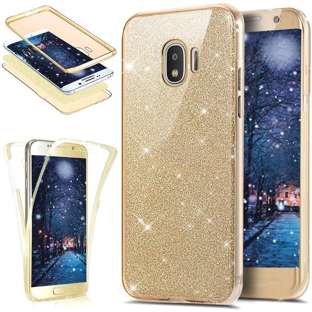 JAWSEU Samsung Galaxy J2 PRO 2018 Cover Silicone TPU Trasparente, [360 Gradi] 3 in 1 Protezione Completa Glitter Sparkle Bling Custodia Ultra Sottile Flessibile Morbida Soft Gel Bumper Coperture JAWSEU0091673