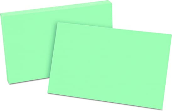 100 Per Pack 7320 GRE Green Oxford Blank Color Index Cards 3 x 5