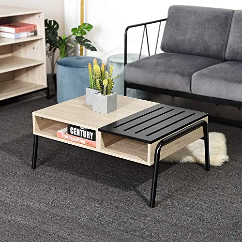 FurnitureR Coffee Tea Table with Extra Drawers Wooden Slats and Multipurpose Cocktail End Tables for Living Room