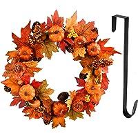 YILEEY Höstkrans ytterdörr dekoration med hängare, 45 cm halloween krans dekoration med bär pumpa tallkotte lönnblad…
