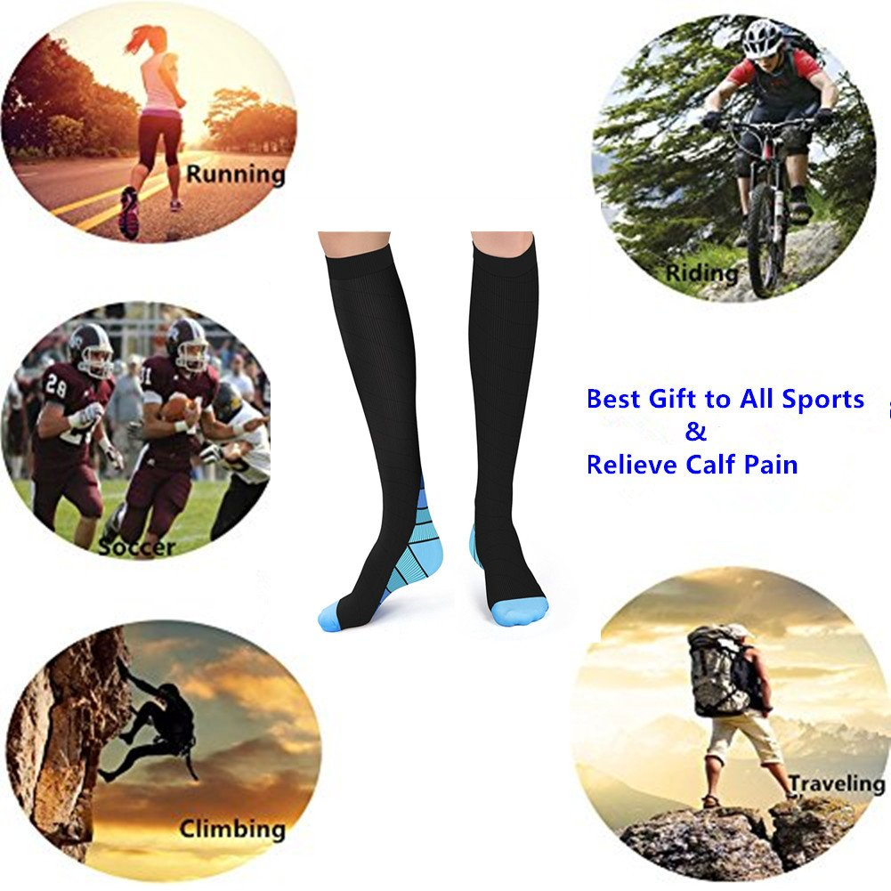 2/3Pairs Compression Socks, 20-30 mmHg Medical Sport Nursing Compression Socks for Men Women Marathon Maternity Pregnancy Flight Shin Splints Edema Varicose Veins(L/XL) (2Pair Blue)