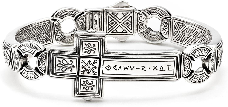Konstantino Men's 925 Sterling Silver Horizontal Cross Dare Bracelet