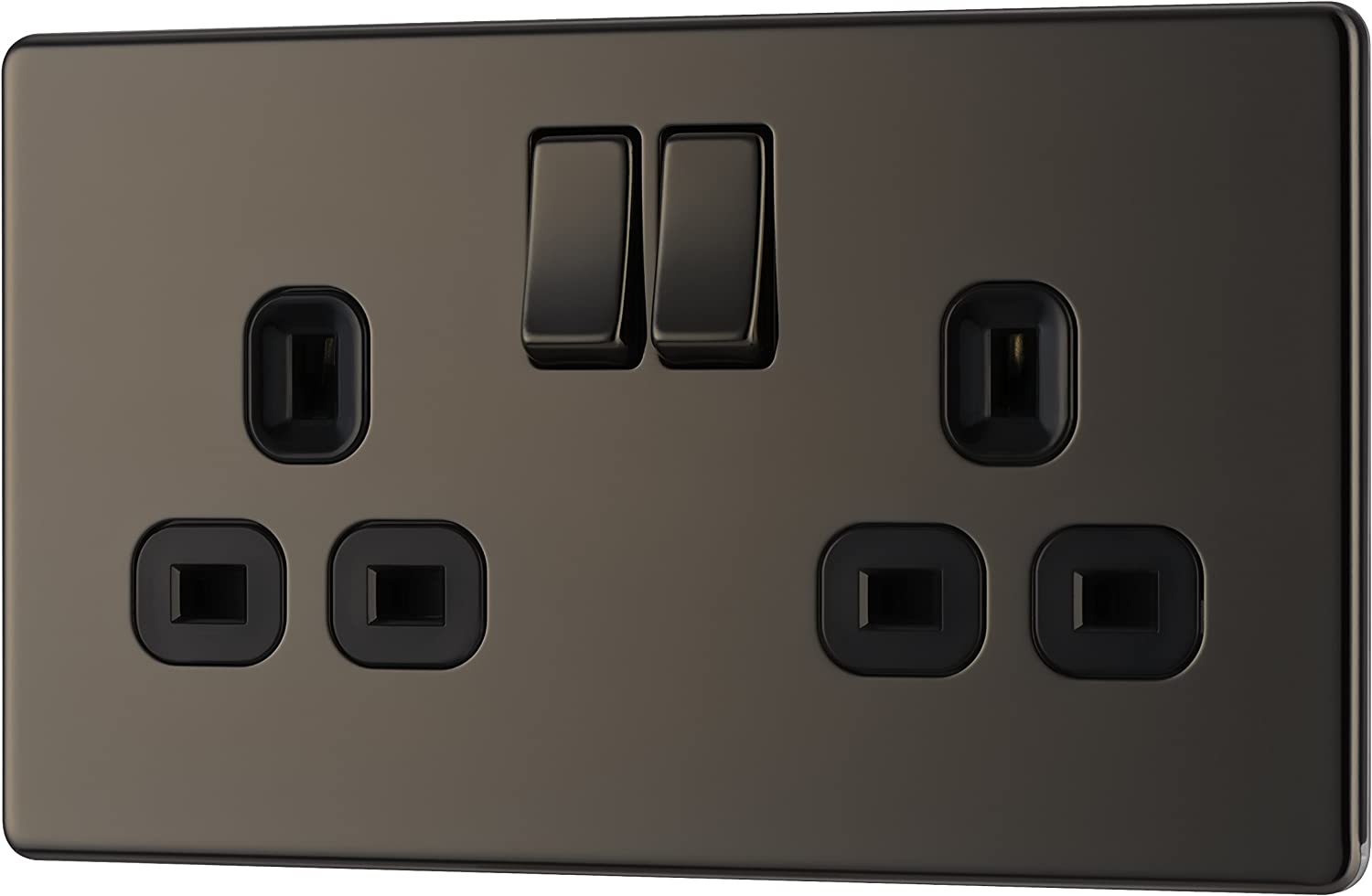 Black Insert BG Electrical NBN22B 13amp Double Metal Black Nickle Power Socket