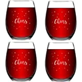 Set of 4 Cheers Christmas Wine Glasses with White Stars Home Xmas Festival Party Decoration Stemless Wine Glasses Holiday Cel