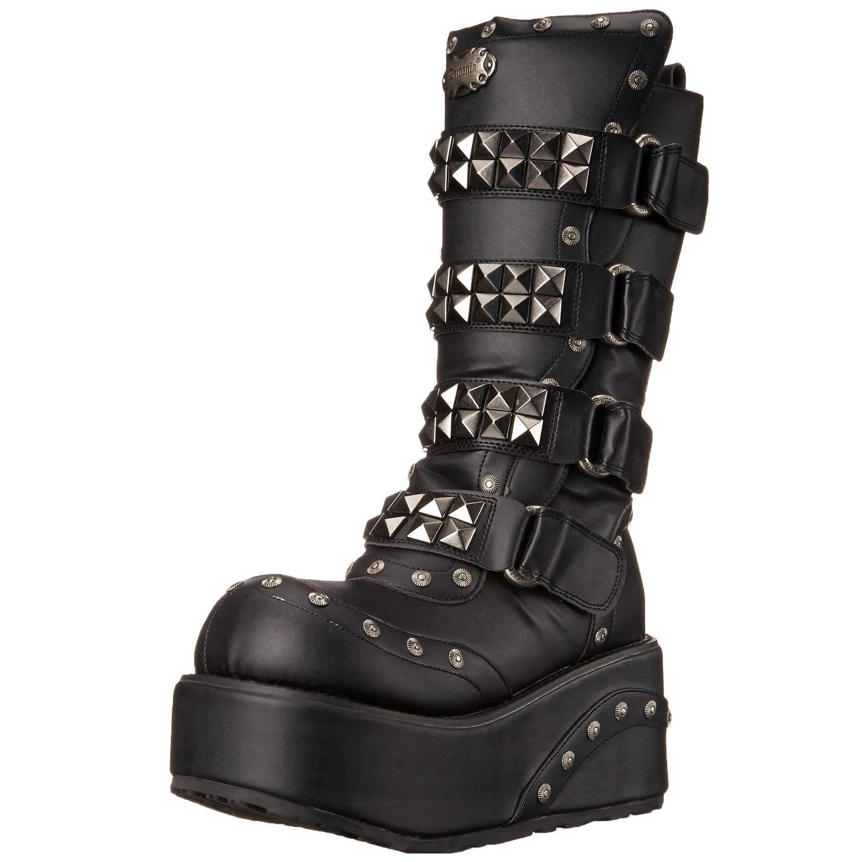 Mens 3 1/4 Wedge Boots Calf Boots Studs Pyramid Hardware Gothic MENS SIZING Size: 8