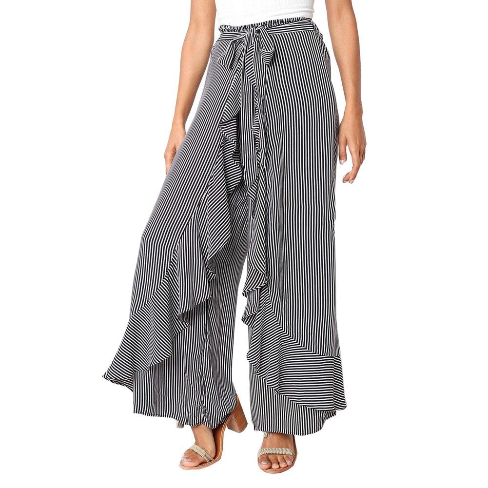 Goocheer Women's Striped Palazzo Pant Ruffle Wide Leg Belted Culottes Trousers (S, Black-White)