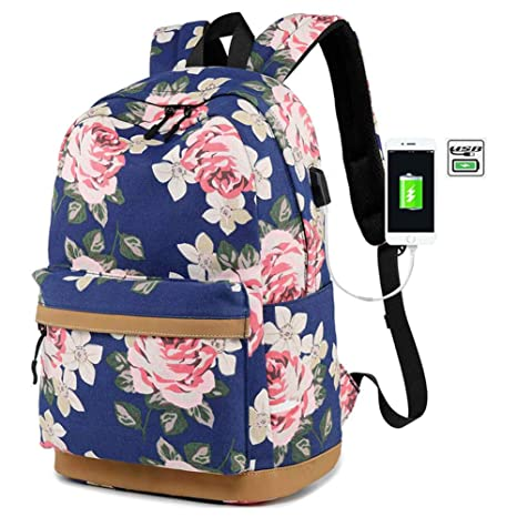 FLYMEI Lightweight Canvas Backpack Travel Backpack 14Inch Laptop Bag with  USB Charging Port 1f2f08c3de0a4