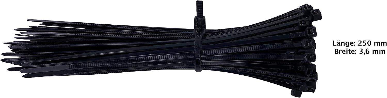 UV 100 St/ück, 250mm x 3,6 mm Hitze und K/ältebest/ändig Extra Stark Premium Kabelbinder In Schwarz Gepr/üfte Qualit/ät
