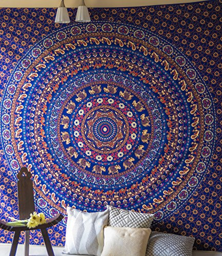 Led Zeppelin Beach Towel (Journey Mandala Tapestry Indian Elephant Bohemian Wall Art Hippie Mandala Bedspread Blanket for Bedroom, Queen Size Wall Hanging for College Dorm Room, Blue Cotton Magical Thinking Boho Bedding)