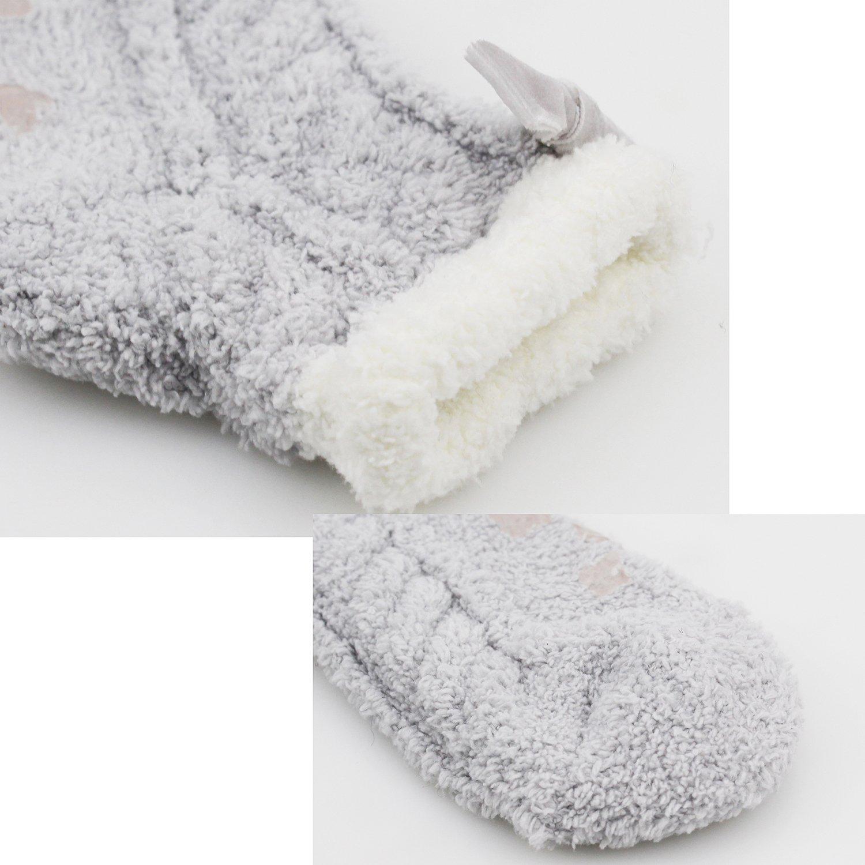 Women Anti-Slip Fluffy Fuzzy Cute Animal Striped Warm Winter Slipper Gifts Socks