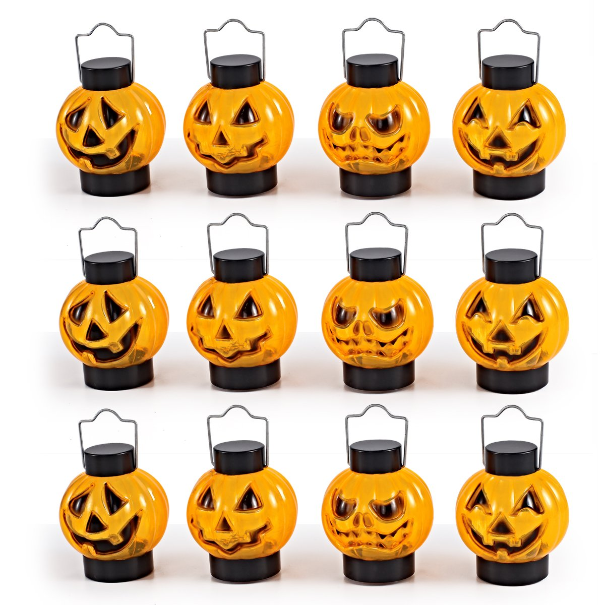 JOYIN 1 Dozen Halloween Light Up Pumpkin Lanterns for Best Halloween Decorations Props