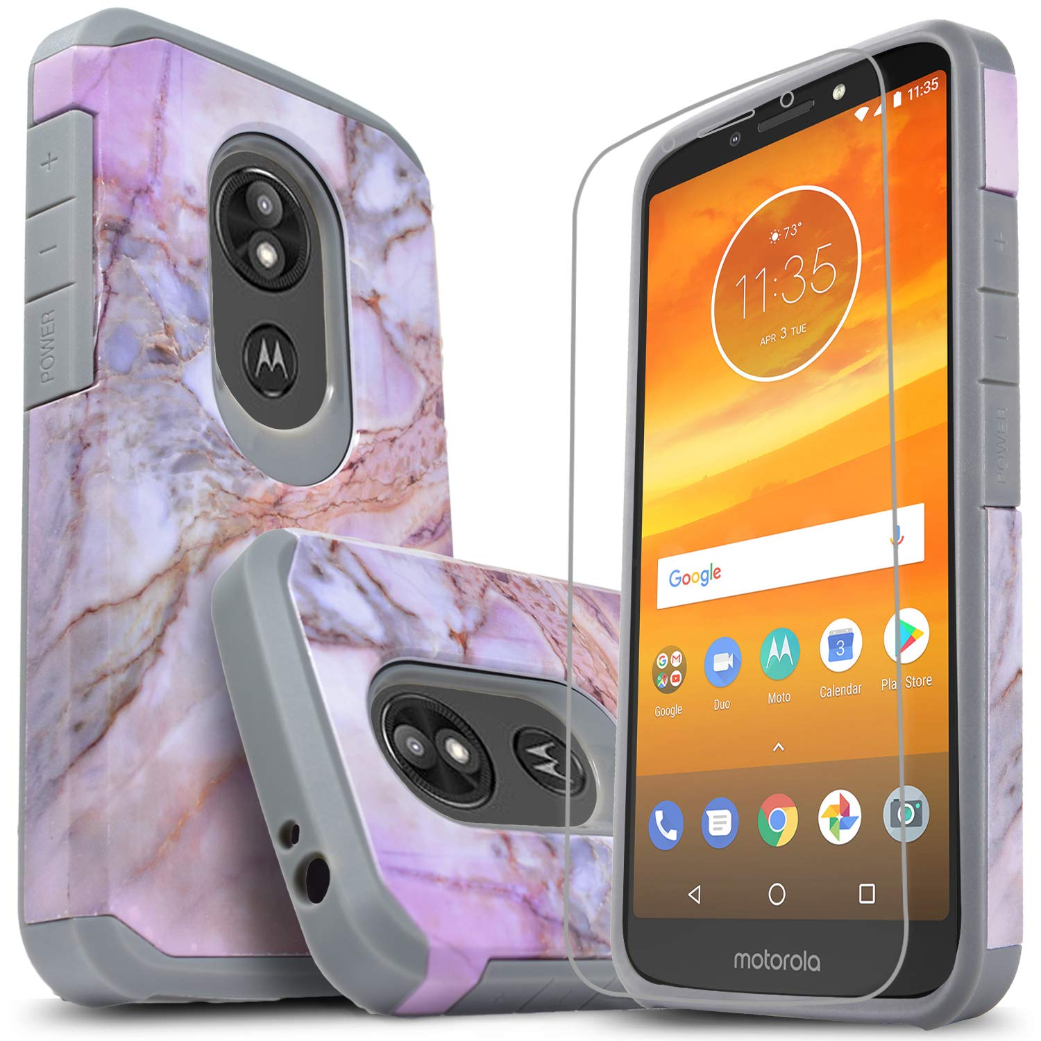 Moto G6 Play NageBee Holster case and tempered glass ...