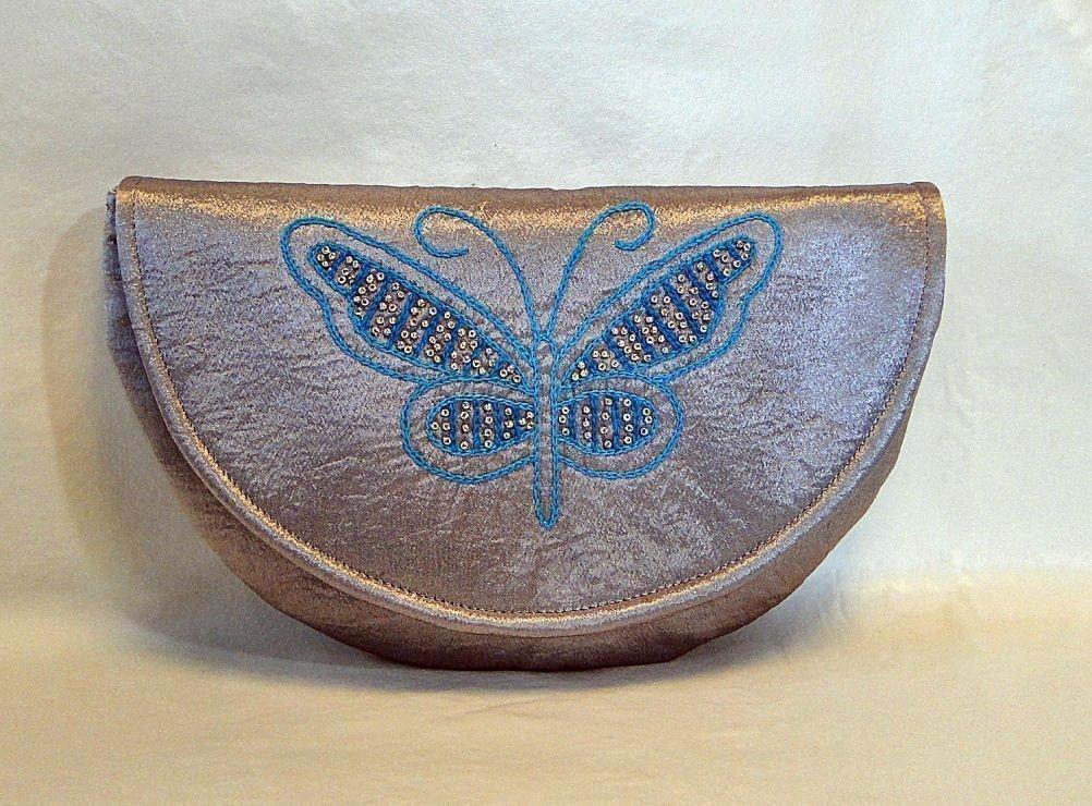 Rosemont Bags Butterfly Beaded Formal Clutch (Silver)