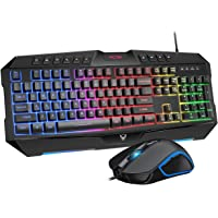 Rainbow Backlit Wired Gaming LED 104 Keys USB Keyboard, 2400DPI 6 Button Mouse for Windows PC Gamer Desktop, Computer (Black)