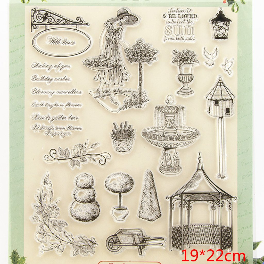 Shoresu Beauty Clear Stamps Sheets Transparent Silicone Seal for DIY Scrapbooking Craft Card Photo Album Decorative 19x22.5 cm//7.48x8.85